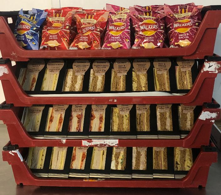 Selection of sandwiches and crisps donated to Hucclecote Surgery